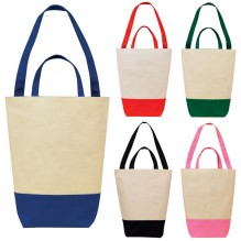 AJ262 - Two-tone Dual Handle Cotton Shopping Tote Bag