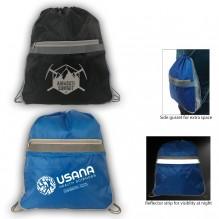 AJ343 - Spacious Drawstring Backpack with Reflector