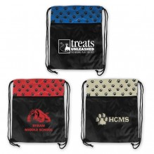 AJ358 - Paw Print Drawstring Backpack