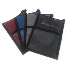 AJ361 - Crosshatched Neck Wallet Badge Holder
