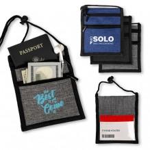 AJ377 - Dual Zippered Heathered Neck Wallet Badge Holders