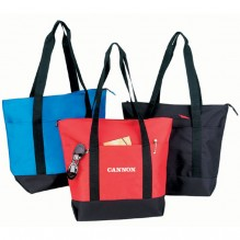 AJ733 - Large Zippered Poly Tote Bag