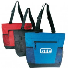 AJ735 - Polyester Tote with Mesh Pockets