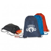 AJ747 - Drawstring Backpack With Zippered Pocket